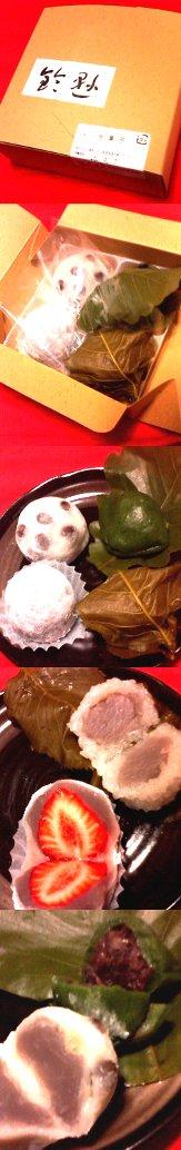 鈴懸(新宿伊勢丹店)の桜葉餅・苺大福・蓬乃柏餅・塩豆大福